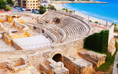 ruin of Roman amphitheater at Mediterranean