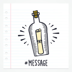 Vector doodle message in a bottle icon illustration with color
