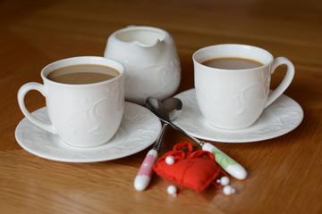 porcelain with coffee, tea