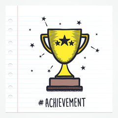 Vector doodle trophy icon illustration with color