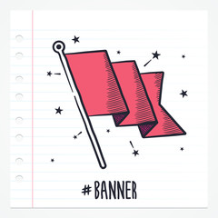 Vector doodle flag icon illustration with color