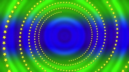 wave motion blue and green circles with rotating stars, loop