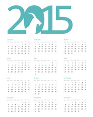 Vector illustration of Calendar for 2015 with a blue heading on