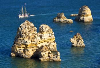 Algarve Coast Lagos and boat, Portugal