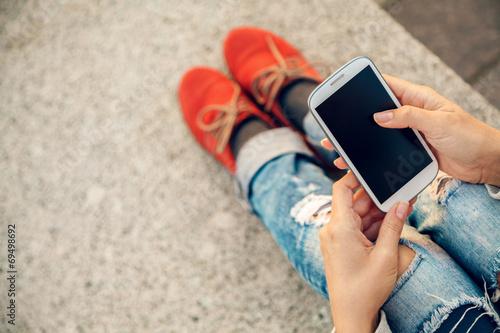 using smart phone - 69498692