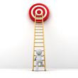 canvas print picture - 3D Man climbing ladder to red goal target Business goal concept