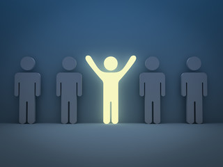 Light man Stand out from the crowd and different concept
