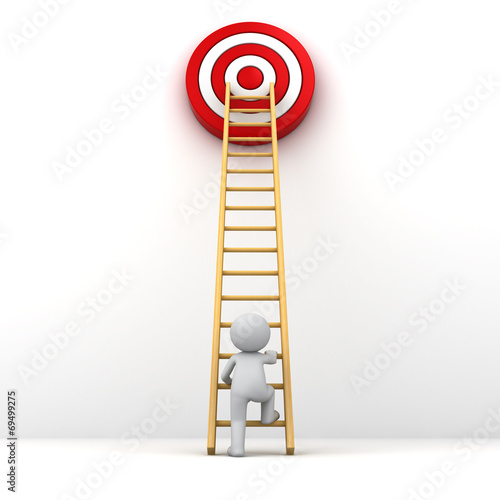 canvas print picture 3D Man climbing ladder to red goal target Business goal concept