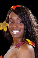 Attractive African American Woman Autumn Leaves Portrait