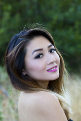 Asian American Woman Outdoors Portrait Bare Shoulders