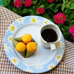 Palm flesh dessert and coffee