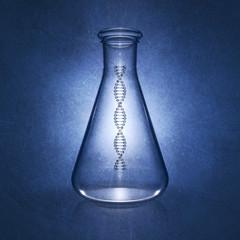 Dna molecule in laboratory flask , Genetics