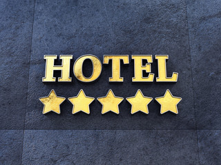 Golden 5 star Hotel sign on a wall , Luxury Hotel