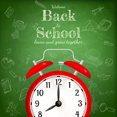 Back to school with alarm clock. EPS 10