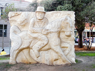 Petah Tikva the Bas Relief of a man on a horse 2010