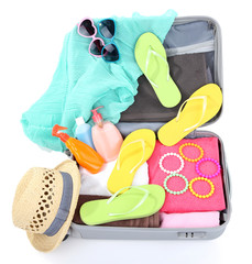Suitcase with things for travelling somewhere close to water