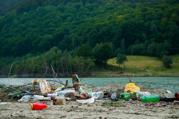 Environmental problems and nature pollution by pile of rubbish