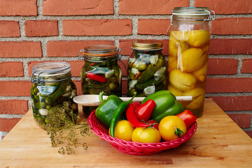 Fresh homemade pickles preserved vegetables