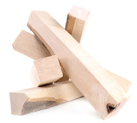 High quality firewood isolated on white