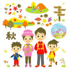 秋 山登り 行楽 家族 セット
