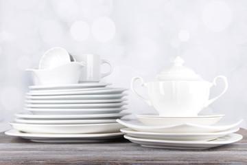 White crockery and kitchen utensils,