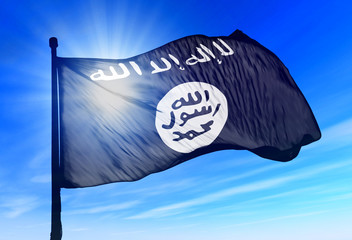 Islamic State flag waving on the wind