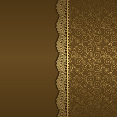 vector background with gold flowers and swirls