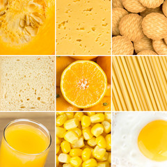 Yellow healthy food background