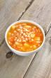 Bean soup in white bowl