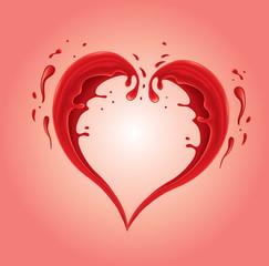 red splash shaped heart