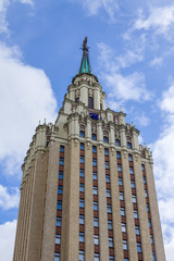 Москва, Россия. Architectural details of the Moscow skyscrapers