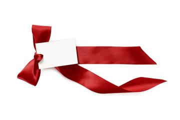 schleife rot mit schild, band; Liebesbrief; kurz