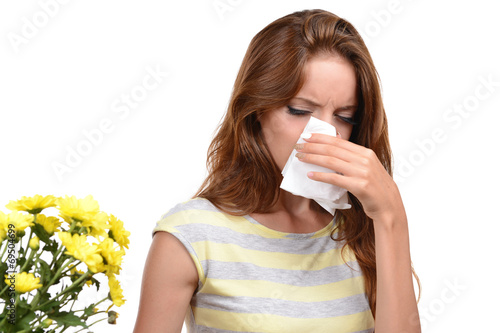 canvas print picture Young girl with allergy isolated on white