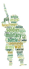 Words illustration of a soldier over white background