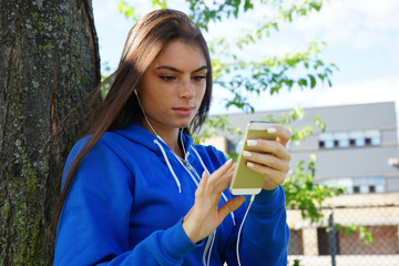 Young student using smartphone