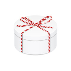 Present box with red twine bow