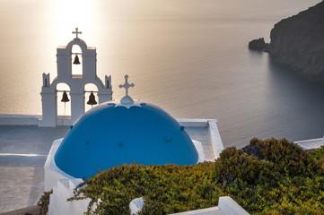 Church at Santorini at Golden Sunset