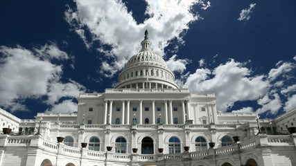 United States Capitol with Time Lapse Zoom
