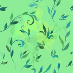pattern with leaves in watercolor