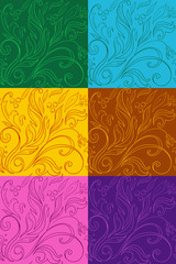 multicolor set of patterns with drawings