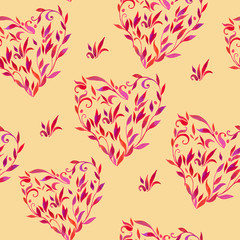 pattern with leaves in shape of heart
