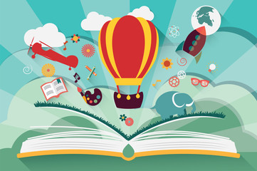 Imagination concept - open book with air balloon, rocket
