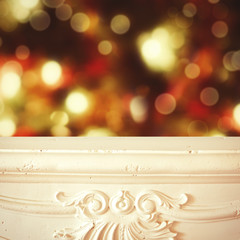 Fireplace shelf Christmas background