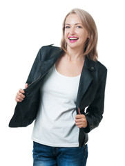Young beautiful girl in a leather jacket isolated on white backg