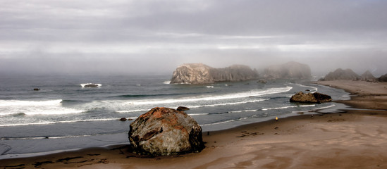 Boulders and Grey Skies on the Oregon Coast