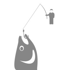 Businessman with a fishing rod