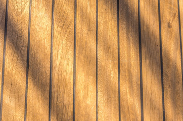 close up of wooden deck boat