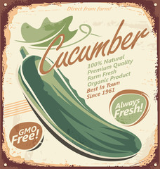 Vintage poster design with cucumber