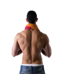 Hunk with towel around his neck back view