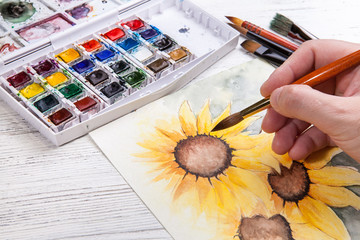 Watercolor painting sunflower wit equipment